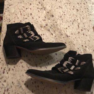 ASOS black buckled booties